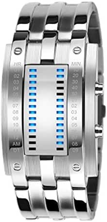 Tungsten Steel Watch Led Students Watch binary Led Watches Big Size - Silver