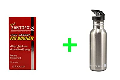 Basic Research Zantrex®-3 Red -- 56 Capsules,New Wave Enviro Stainless Steel 20 oz Water Bottle -- 1 Bottle