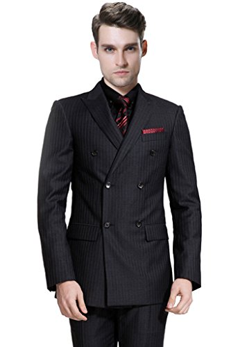 Hanayome Men's 2015 New Regular 3 Pieces Striped Tuxedo Suit Jacket & Pants U64?Black,52L?