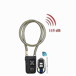 410Ak5MKtTL. SS300 Blocco bici, Serratura allarme telecomando wireless 115 dB, Blocco antifurto a catena antifurto per motocicletta con…