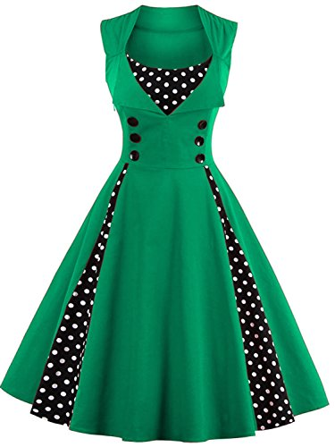 Modest Halloween Costumes 1950s Inspired Vintage Dress,Green XL