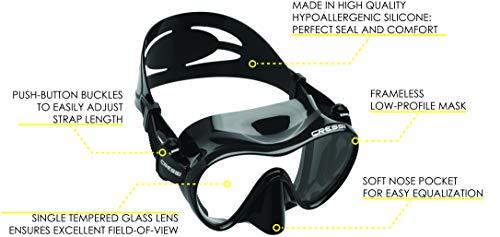 Cressi Scuba Diving Snorkeling Freediving Mask Snorkel Set, All Black