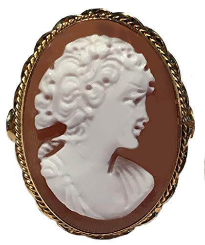 Cameo Ring Italian Master Carved Sardonyx Shell Sterling Silver 18k Gold Overlay Size 8.5 Cameo Sterling Silver Setting