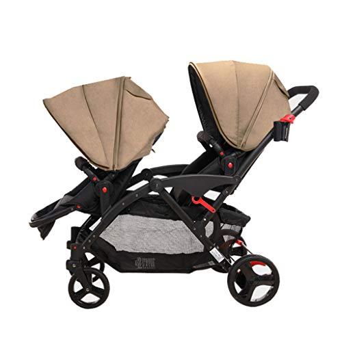 Cochecito de bebé Gemelo Asiento Delantero y Trasero Doble Ligero Recién Nacidos Alto Paisaje Plegable Puede Sentarse...