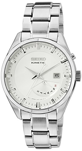 SRN043P1 Seiko Men's Automatic Watch Analogue Watch-White Face-Grey Steel Bracelet