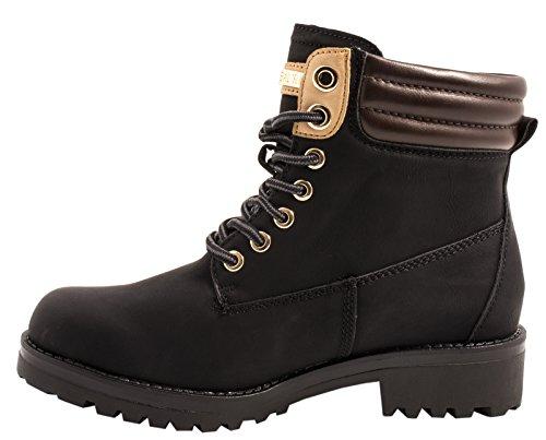 Elara Warm Gefütterte Stiefeletten | Profilsohle Schnürrer | Worker Boots |chunkyrayan Schwarz -