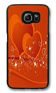 Samsung Galaxy S6 Case and Cover -Couple Hearts Custom PC Hard Case Cover for Samsung S6/Samsung Galaxy S6 Black