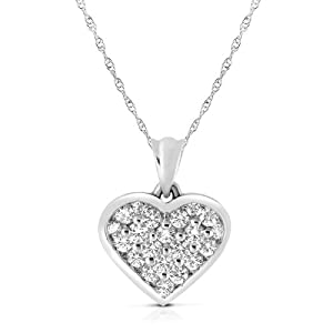 Dreamy1CT Diamond Heart Pendant 14K White Gold with 5R Complementary Chain
