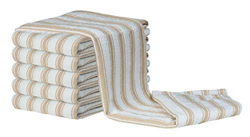 Glamburg 6Pack Basket Weave Kitchen Towel 18x28 Linen Beige