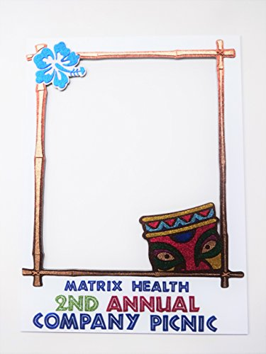 Photo Booth Party Props Polaroid Inspired Frame MD F Plastic topping for the look and feel of a Polaroid picture .Glitter Foamy for lettering,tiki and flowers 23x31 inches -