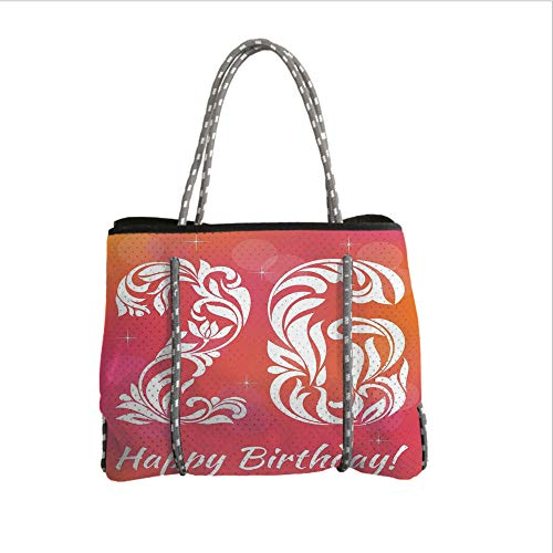 Neoprene Multipurpose Beach Bag Tote Bags,26th Birthday Decorations,Unique Victorian Style Leaf Featured Number Aging Print,Dark Coral White,Women Casual Handbag Tote Bags ()