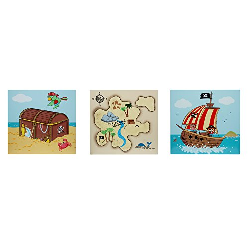 Fantasy Fields - Pirate Island Thematic Kids Wooden Wall Art Set | Imagination Inspiring Hand Painted Details | Non-Toxic, Lead Free Water-based Paint