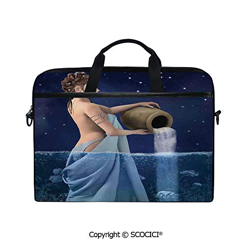 - Customized Printed Laptop Bag Notebook Handbag Aquarius Lady with Pail in The Sea Water Signs Saturn Mystry at Night Stars Decorative 15