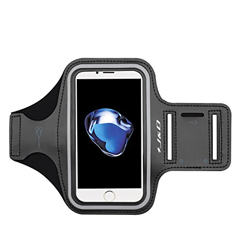 J&D Armband Compatible for iPhone 8/iPhone 7 Armband, Sports Armband with Key Holder Slot for Apple iPhone 8, Apple iPhone 7 Running Armband, Perfect Earphone Connection While Workout Running - Black