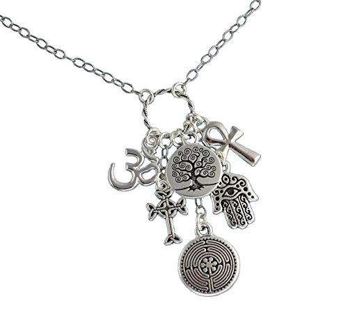 (Religions Coexist Silver Charm Cluster Necklace - om, hamsa hand, tree of life, cross, ankh, labyrinth (26