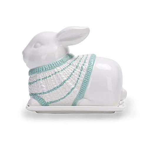 Mermaid Co White /& Blue Bunny Rabbit Butter Dish Rabbit butterdish Bunny Rabbit kitchen accessories