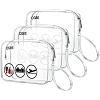 3-PACK CGBE TSA-Approved Travel Toiletry & Cosmetics Make Up Organizer Carry-On Bag With Handle Strap for Women and Men (Clear)