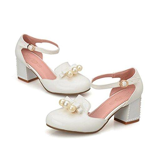 Pie Verano La Zapatos De Cabeza De EU40 Estudiante De Confeccionado PU Talón Cuero Sintético Grueso UK7 Talón Medio CN41 Color Sandalias Patente De La Tamaño Blanco rtqvrwT