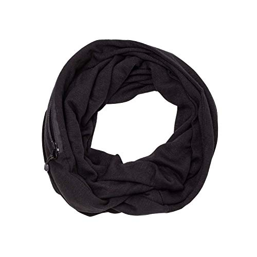 Rayon Jersey Scarf - Infinity Scarf with Hidden Zipper Pocket, Travel Scarves Organizer | Fahion Scarves Wrap for Women, Girls, Ladies Lightweight (Black)