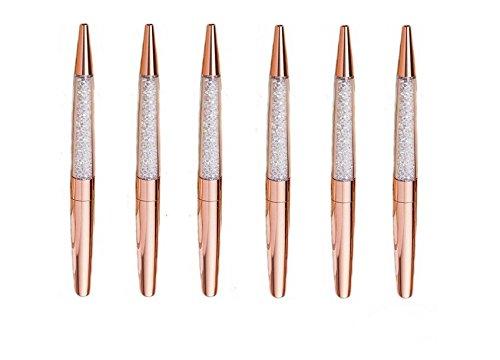 (Hxytech Shine Rose Gold Pen Bling Diamond Pens Fine Black Ink Pen Metal Shell(Pack of 6))