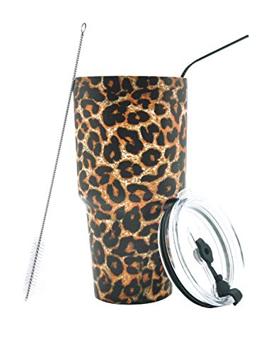 DYNAMIC SE 30oz Tumbler Double Wall Stainless Steel Vacuum Insulated Travel Mug with Splash-Proof Lid Metal Straw and Brush (Leopard) by DYNAMIC SE