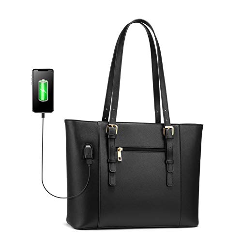 LOVEVOOK Laptop Bag for Women, Structured Leather Computer Bag, Professional Work Tote Purse, Teacher/Attorney's Choice, USB-Black (Womens Laptop Bags Leather)