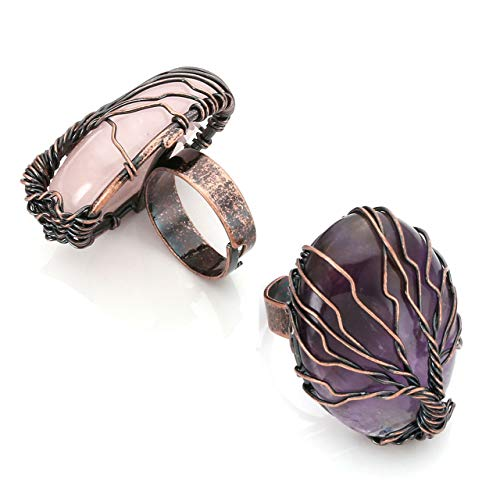 Top Plaza Handmade Retro Vintage Copper Wire Wrapped Tree of Life Oval Amethyst Rose Quartz Healing Crystal Adjustable Ring Bronze Band Size 6 7 8