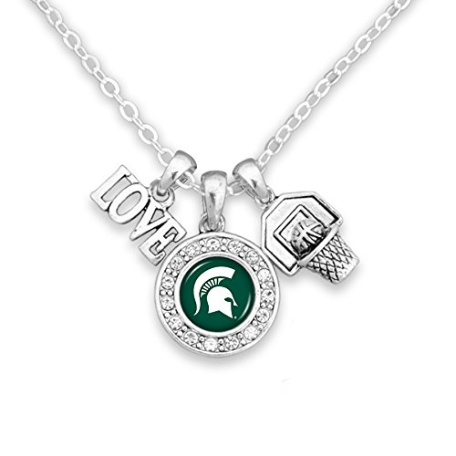 Sports Team Accessories Michigan State Spartans Chain Necklace with Three-Charm Cluster: Love, Logo, Basketball