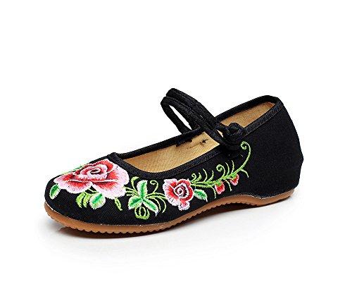 Zapatos En Gamuza Cómodo Casual Estilo Tendón Mn Mujeres Suela Negro El Bordado Zapatos Aumento De Étnico Moda 5qww1