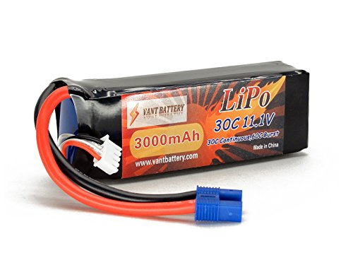 11.1V 3000mAh 3S Cell 30C-60C LiPo Battery Pack w/ EC3 (EC-3) Connector Plug (Airplane Helicopter Quadcopter Multirotor Drone UAV FPV 3S3000-30-EC3 EFLB30003S30)