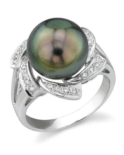 11mm Tahitian South Sea Cultured Pearl & Diamond Nova Ring in 18K Gold (Tahitian 18k Gold Pearl Ring)