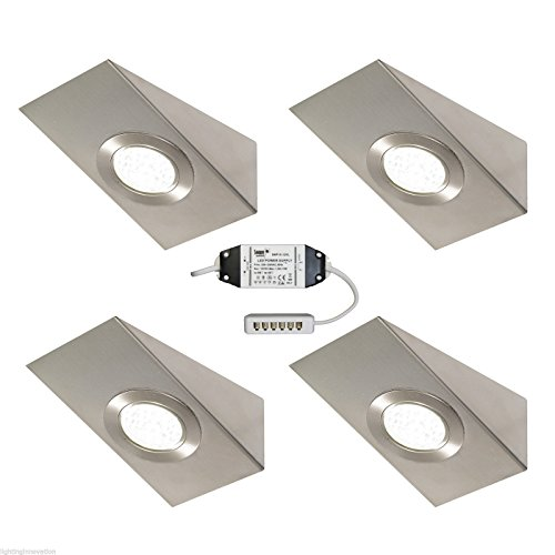 3 X LED TRIANGLE KITCHEN UNDER CABINET CUPBOARD BRUSHED CHROME COOL WHITE