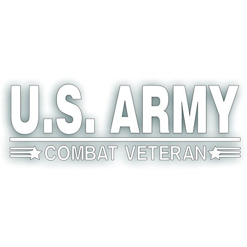Solar Graphics USA Combat Veteran U.S. Army Decal - For Military War Vet Windshield Or Car Bumper Sticker - Single 3 1/2 x 10 Inch White