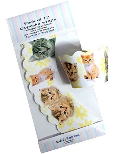 12 x Kitten / Cat design Cupcake wrappers cake wraps decoration Simply Topps Ltd