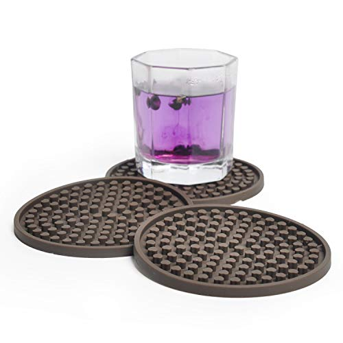 Drink Coasters 8 Pack Brown,Silicone Coasters for Drinks Absorbent Moisture Protect Furniture Damage, Deep Large Non-Slip for Any Desk Tables Type, Wood, Granite, Glass, Soapstone, Sandstone, Marble