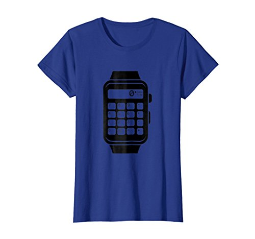 Womens Vintage CALCULATOR WATCH Shirt   Gift TShirt For 80s Small Royal Blue