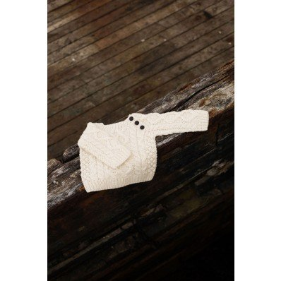 Irish Merino Wool Baby Button Crew Neck (6-12 Months) - Fast delivery from Ireland