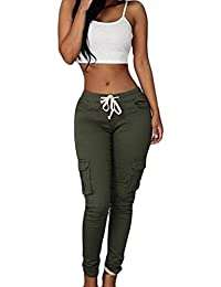 Bestgift Women's Slim Fit Solid Color Pocketed Drawstring Pants