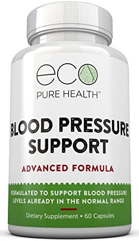 Blood Pressure Support Supplement, with Garlic Powder, Vitamin B6, Vitamin B12, Hawthorn Extract & more, 60 Capsules by Eco Pure Health