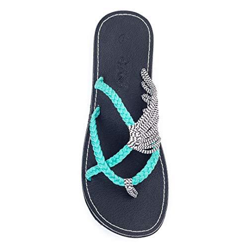 Plaka Flip Flops for Women Turquoise Zebra Size 7 Oceanside