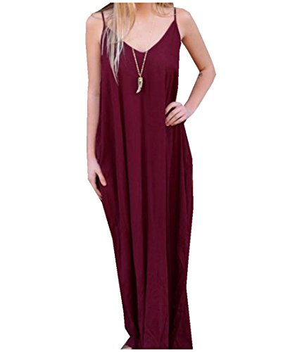 Wine Maxi Casual Harness Floor Length Women's Dress Low Red Coolred out RYPzxq7