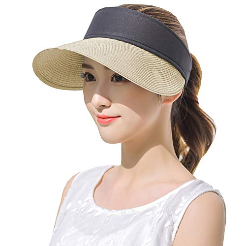 Womens Straw Sun Visor Hat Roll Up Wide Brim UV Protective Beige