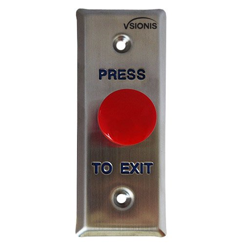 Visionis VIS-7014 Small Slim Red Round Request to Exit Button for Door Access Control, NC and NO Outputs