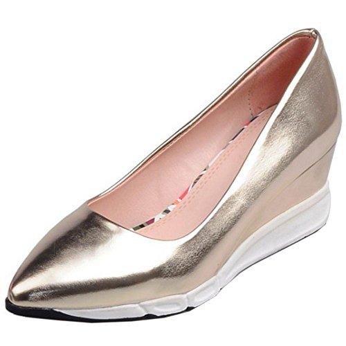 Going Sin Tacon COOLCEPT Easy de Mujer Light Weight Moda Bombas Cordones Casual Oro Cuna Zapatos Zapatos Mid 7qxqXwgzf
