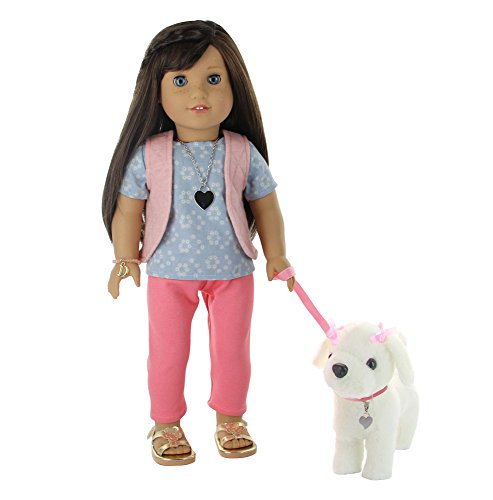 PZAS Toys 18 Inch Doll Dog Walking Set - Doll Clothes Set with Plush Dog, Dog Leash and More for 18