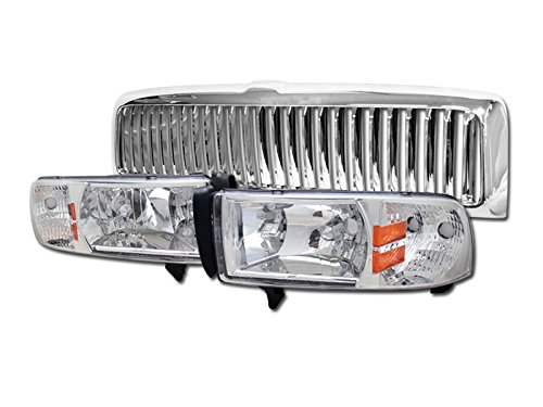CHROME CRYSTAL HEAD LIGHTS LAMP SIGNAL+FRONT VERTICAL GRILL GRILLE 1994-2002 (01 Dodge Ram Crystal)