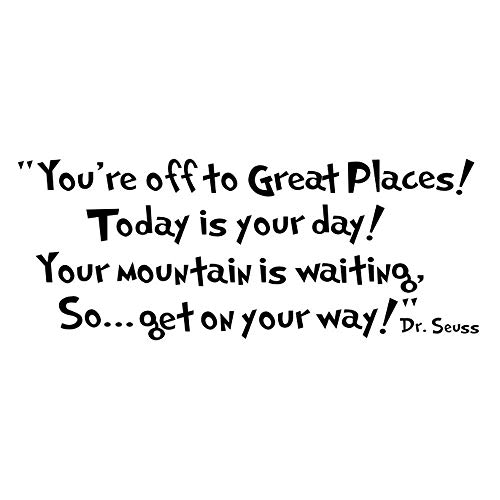 Dr Seuss Mural - ASDY Dr Seuss You're Off to Great Places Wall Vinyl Sticker Decals Quote Saying Decor Art Bedroom Design Mural