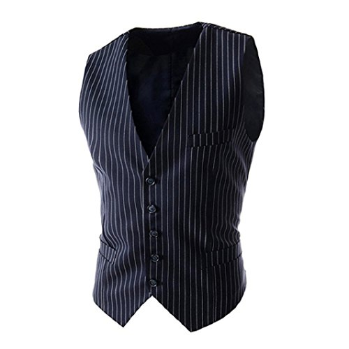 (Shineweb Men's Formal Pinstripe Slim Suit Vest Waistcoat)
