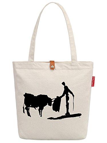 So'each Women's Matador Art Paniting Top Handle Canvas Tote Shopping Bag