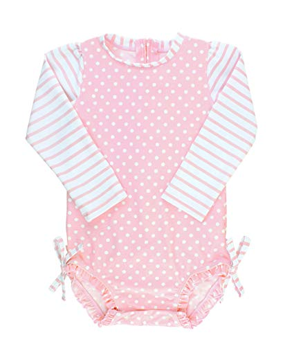 RuffleButts Baby/Toddler Girls Long Sleeve One Piece Swimsuit - Pink Polka Dot with UPF 50+ Sun Protection - 3-6m
